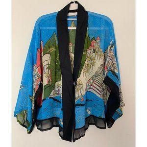 Chico's Designs Kimono Silk Top Cityscape